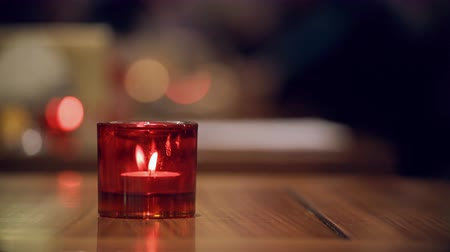 holidays : Candle flame red candle holder glass