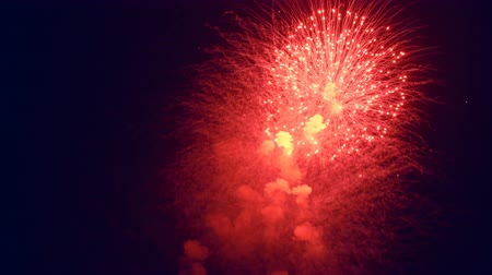 short clip : Red Color Night Fireworks Stock Footage