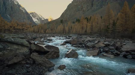raso : Cascading White Water Rocky Mountain River Running Through Siberian Highland Beautiful Natural Landscape Vídeos