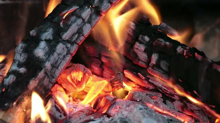 winter place : close up image of fireplace and wood burning