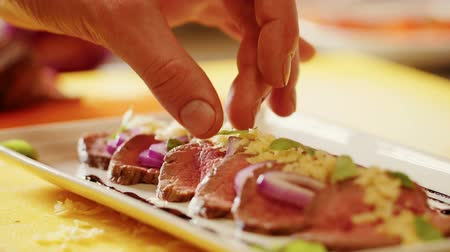 gourmet : Cooking beef salad. Stock Footage