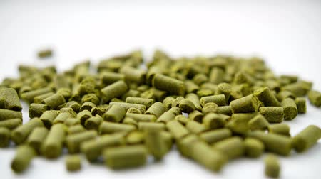 hops : Concept hops in granules for brewing at the brewery. Stock Footage