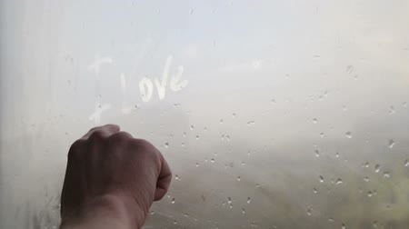 çizim : hand writing on window i love you HD Stok Video