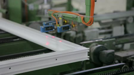 polyvinyl : The modern digital machine scans the laser metal-plastic windows HD Stock Footage