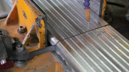 polyvinyl : Cutting metal profiles for metal windows HD Stock Footage