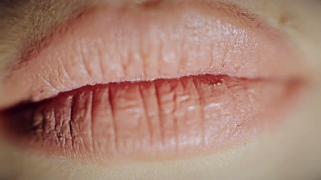 csók : Lips girl. Close-up. Kiss HD