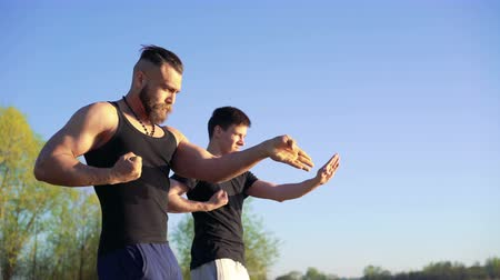 quimono : Training a Wing Chun between master and follower on sky background. 4k Vídeos