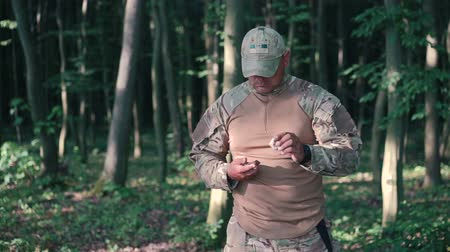 pain free : Military sharpen knife with bilestone in the forest Stock Footage