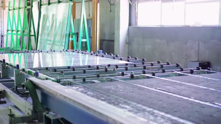 panel buildings : Sheets of factory manufacturing tempered clear float glass panels cut to size 4K