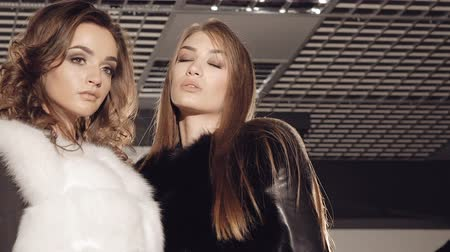 cabelos grisalhos : Glamour girls in fur coats posing in boutique
