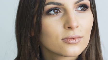 gorgeous : Close up of pretty girl looking to camera. Slowly Stock Footage