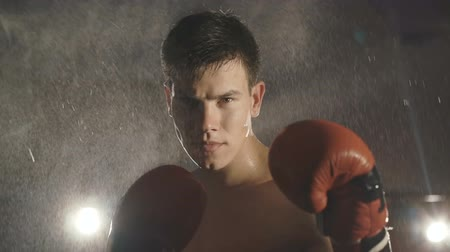 portre : Portrait of boxer stands under water splashing on ring looking at camera. Slowly Stok Video