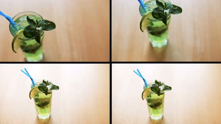 мята : Montage of fresh cocktail with greens on table