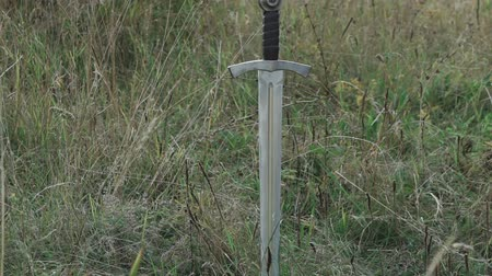 bıçaklamak : View of sword in the soil on the steppe. Slowly
