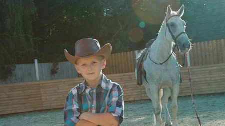 dazzle : Portrait of stylish little cowboy stands near purebred horse on sunlight. Slowly