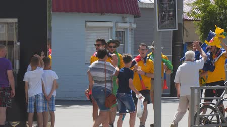 happiness symbol : SAMARA, RUSSIA - JUNE 21, 2018: Australian football fans on the streets of Samara during the football world Cup 2018