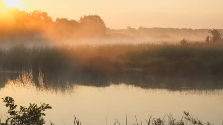 mirage : Morning fog on a quiet lake in the rays of the rising sun
