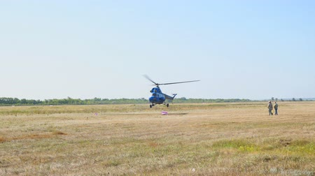 evacuation : Samara, Russia - September 11, 2018: The helicopter comes in to land