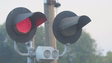 approaching subway : Flashing red light at the railway crossing