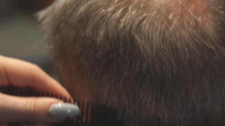 パーラー : Woman Hairdresser cuts mans hair with electric clipper trimmer. Selective focus