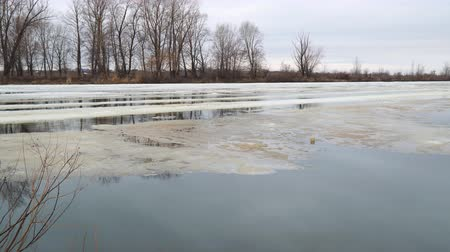 последний : Melting the last ice on the river in early spring on a cloudy day. Flood on the river