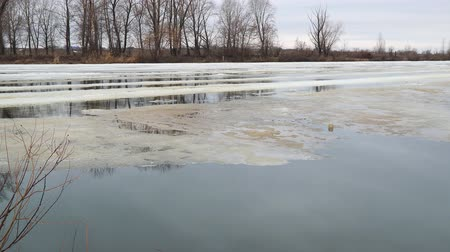 takes : Melting the last ice on the river in early spring on a cloudy day. Flood on the river. Camera panning