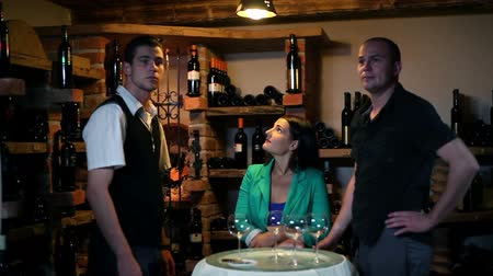 alcohol : Wine tasting in a cellar