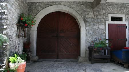 madeira : Shot of a door that openes basement Vídeos