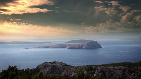 hırvatistan : Panoramic shot of island in the adriatic sea with added cloud lapps
