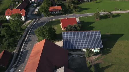 panel buildings : Shot from helicopter representing  roof covered with solar power station