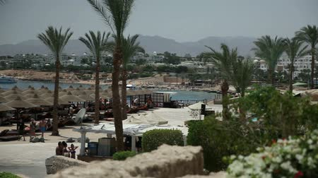 prehistory : Beach with umbrellas in Sharm