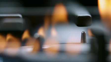 cooktop : Extreme close up focus on fire from gas cooker