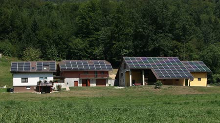 image house : Several houses with solar panels together Stock Footage