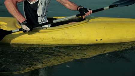 kayak : Close up on rowing in kayak