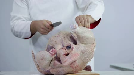 bife : Cutting away skin from big turkey Stock Footage