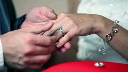 casamento : bride and groom hand exchanging gold wedding rings on a wedding ceremony