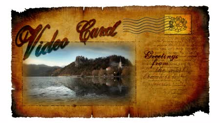 slovinsko : Animated video card with moving picture of castle in Bled in Slovenia Dostupné videozáznamy