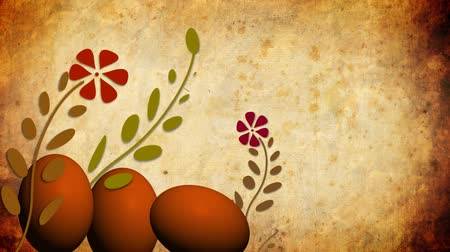 easter : Easter eggs with animated growing flowers on old paper
