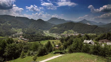 долина : Panoramic shot of the hills near Celje Стоковые видеозаписи