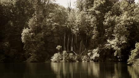 wideangle : Beautifull landscape in Plitvice national park with added sepia color filter Stock Footage