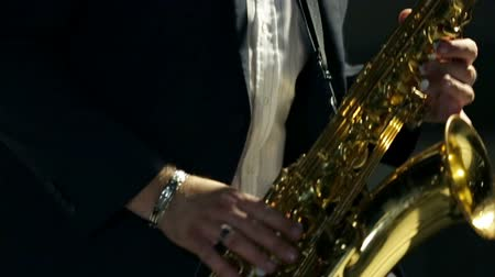 saxofone : Close shot of saxophone player  Stock Footage
