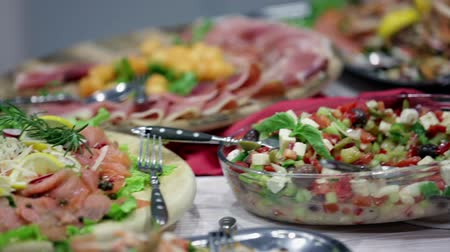appetizers : Buffet full of different food delights Stock Footage