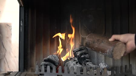 briquette : Nice little fire burns lightly in the fireplace