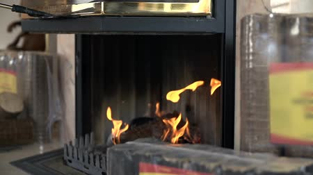 briquette : Burning fireplace surrounded with packages of briquettes