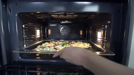 kitchen furniture : Baking try with some juicy food is being put in oven