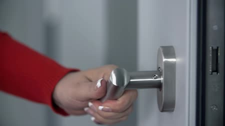 ajtó : Pressing shiny doorhandle and opening the doors