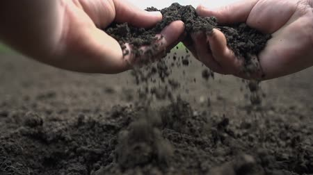 talaj : Point of view shot of two hands grabbing the soil and letting it to fall back