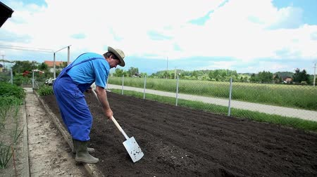 ásta : Farmer shovels the soil
