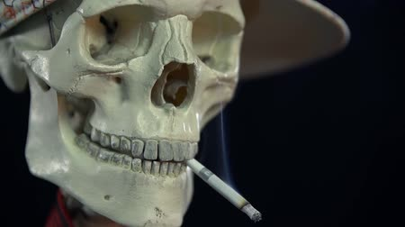 hooligan : Detail shot of skull having a lit cigarette in its mouth