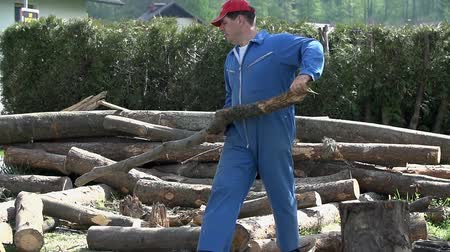 rakás : Man carry branch log away from pile. Blue collar worker cutting logs for winter. Stock mozgókép
